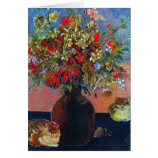 Flowers and Cats by Gauguin, Vintage Impressionism Greeting Card
