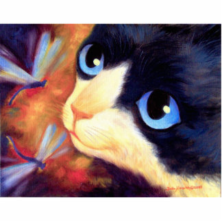 Flowers And Cats Painting Art - Multi Statuette
