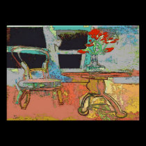 Flowers and Chair Abstract Still Life posters