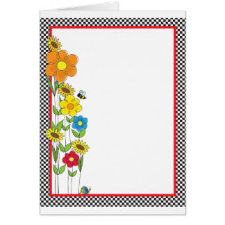 Flowers and Checks Border Card