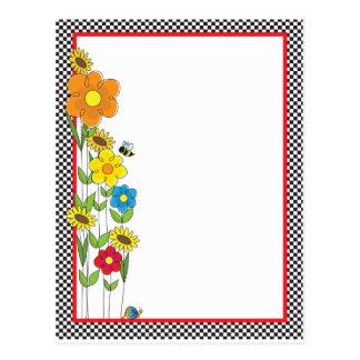 Flowers and Checks Border Postcard