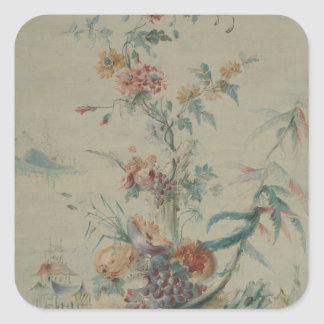 Flowers and Chinoiserie Square Sticker