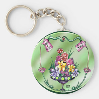 Flowers and Coffee Keychain