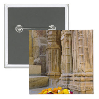Flowers and columns, Jaisalmer Fort, Jaisalmer, 2 Inch Square Button