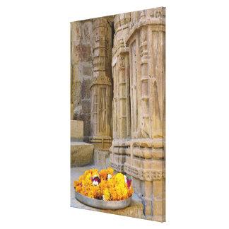 Flowers and columns, Jaisalmer Fort, Jaisalmer, Canvas Print