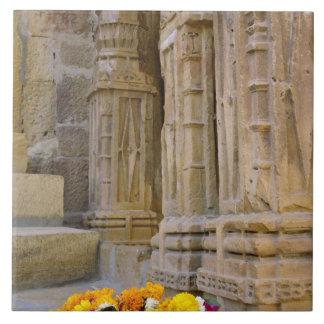 Flowers and columns, Jaisalmer Fort, Jaisalmer, Large Square Tile