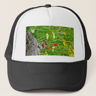 Flowers and cute cubby little Chipmunk Trucker Hat
