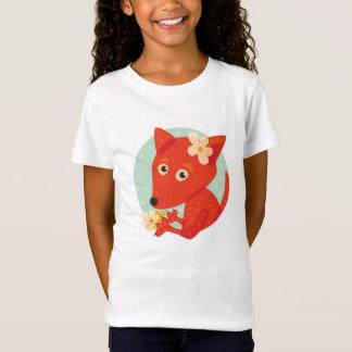 Flowers And Cute Fox Girl T-Shirt
