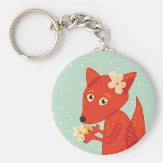 Flowers And Cute Fox Keychain