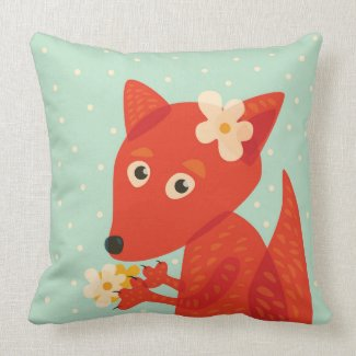 Flowers And Cute Fox Kids Throw Pillow