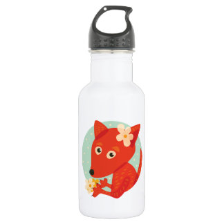 Flowers And Cute Fox Stainless Steel Water Bottle