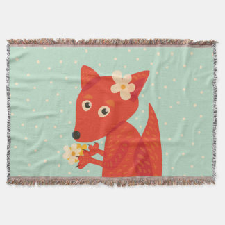 Flowers And Cute Fox Throw Blanket
