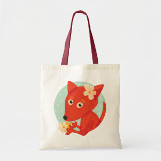 Flowers And Cute Fox Tote Bag