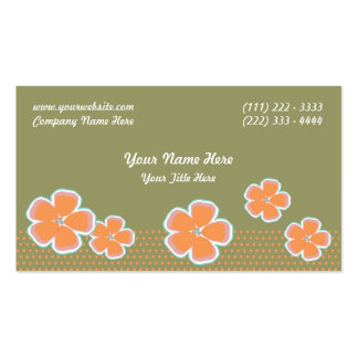 Flowers and Dots Business Card Template
