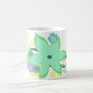 Flowers and Dots Classic White Coffee Mug