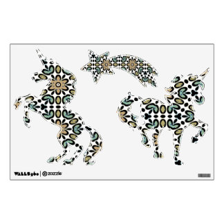 FLOWERS AND DOTS UNICORNS Wall Decals