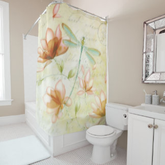 Interesting Dragon Fly Shower Curtain. Flowers and dragonfly shower curtain The Dragonfly Shower Curtains  Zazzle