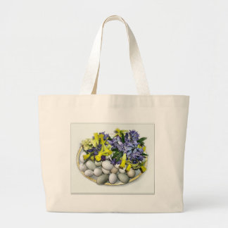 Flowers and Eggs Large Tote Bag