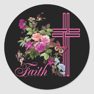 FLOWERS AND FAITH CLASSIC ROUND STICKER