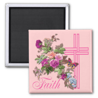 FLOWERS AND FAITH REFRIGERATOR MAGNETS