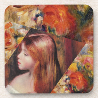 Flowers and female beauty blend just right beverage coaster