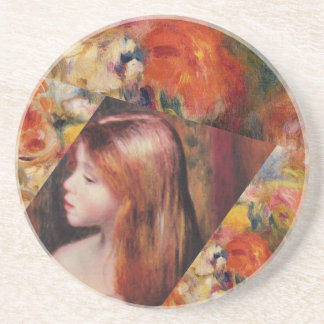 Flowers and female beauty blend just right drink coaster