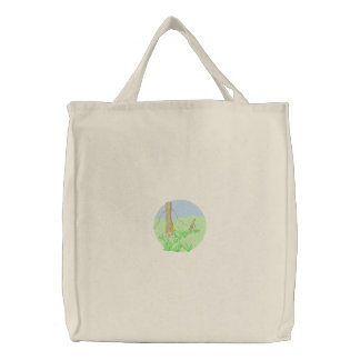 Flowers and Fence Embroidered Tote Bag