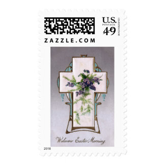 Flowers and Ferns on Vintage Easter Cross Stamps