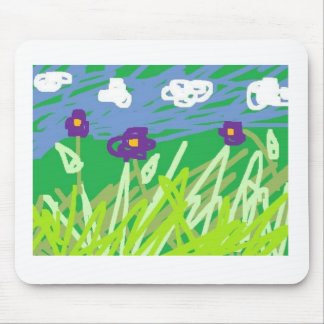 flowers and fluffy white clouds, gym bunny, flo... mouse pad