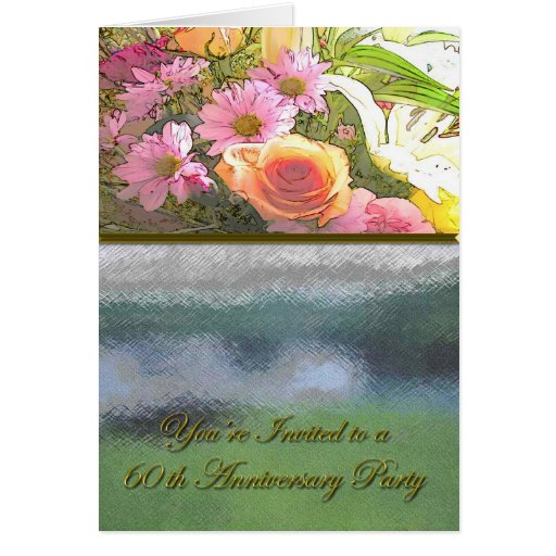 Flowers And Fog 60th Anniversary Card Zazzle