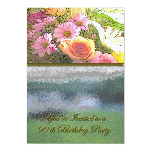 Flowers and Fog 90th Birthday 5x7 Paper Invitation Card