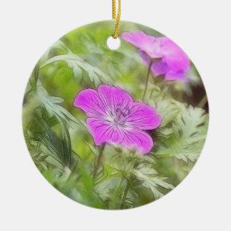 Flowers And Foliage - Hardy Geranium Ceramic Ornament