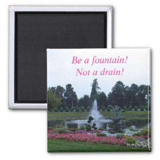 Flowers and fountain, be a fountain not a drain! 2 inch square magnet