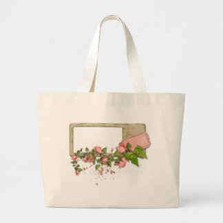 Flowers and frame large tote bag