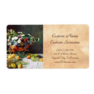 Flowers and Fruit, 1869  Claude Monet Shipping Label
