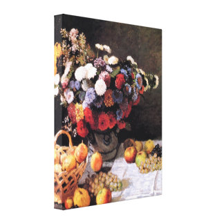 Flowers and Fruit Basket by Claude Monet Canvas Print