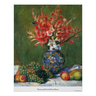 Flowers and Fruit by Pierre Renoir Poster