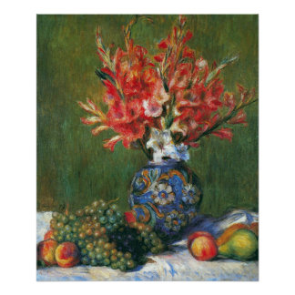 Flowers and Fruit by Pierre Renoir Posters