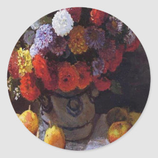 Flowers and Fruit Classic Round Sticker