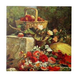 Flowers and Fruit in a Garden, Eugene Boudin art Ceramic Tile