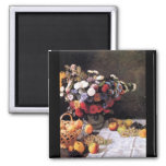 Flowers and Fruits by Claude Monet 2 Inch Square Magnet