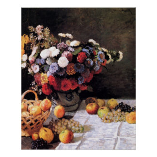 Flowers and Fruits by Claude Monet Poster