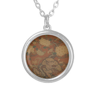 Flowers and Garden Rock - Chinese Silk Silver Plated Necklace