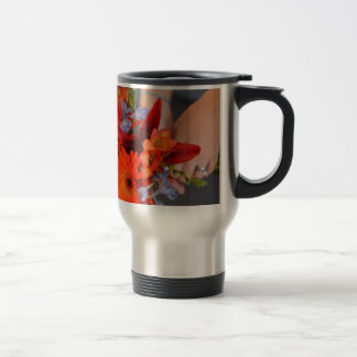 Flowers and hans 15 oz stainless steel travel mug