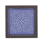 Flowers and hearts blue ornament premium trinket boxes