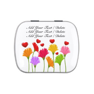 Flowers and Hearts - Jelly Beans Candy Tin