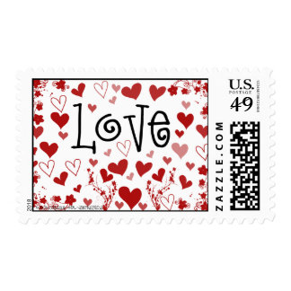 Flowers And Hearts LOVE Postage