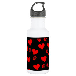 flowers and hearts red 18oz water bottle