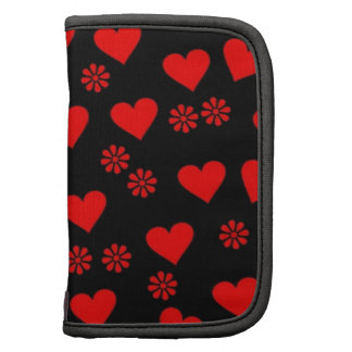 flowers and hearts red planner