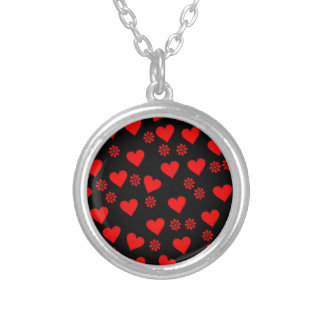 flowers and hearts red round pendant necklace